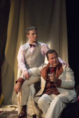 "Liam Jackson, left as Lord Alfred ""Bosie"" Douglas and Chris Baldock as Oscar Wilde in <i>The Judas Kiss</i>."