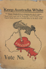A racist poster of the time portrays conscription as a mortal blow to White Australia.