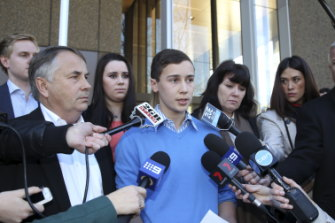 Stuart fronts the media in 2014 after Kieran Loveridge's sentence was increased.