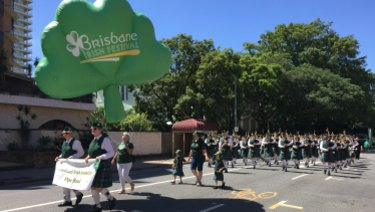 Giant, inflatable shamrocks flew proudly above the parade participants as they completed their loop.