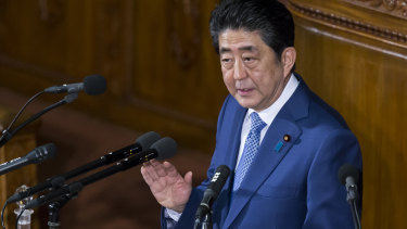 Japanese Prime Minister Shinzo Abe delivers his policy speech during a plenary session at the lower house of parliament in Tokyo last week.
