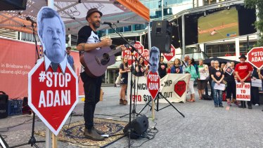 Anti-Adani protest in Brisbane City featured Ben Ely from Regurgitator.