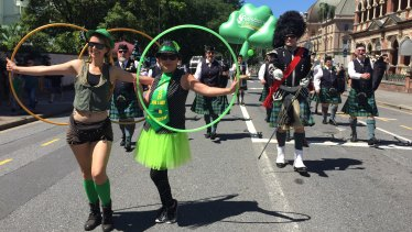 The 29th annual St Patrick's Day Parade marches through Brisbane.