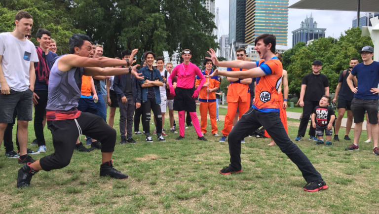 Anime fans struck a number of poses in Kurilpa Point Park.