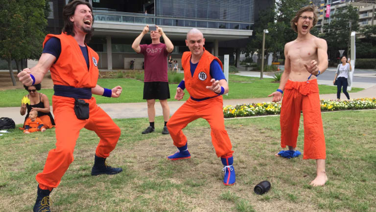 More than 50 anime fans attended the 'Scream Like Goku' event in South Brisbane on Saturday.