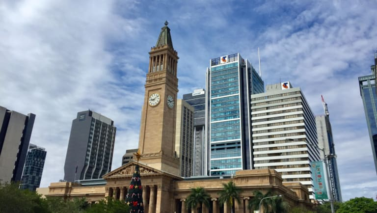 Mostly blue skies over Brisbane on Sunday morning, tempted residents into a false sense of security.