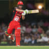 Sam Harper of the Renegades batting during the Big Bash League Match between the Sydney Sixers and the Melbourne Renegades on Wednesday.
