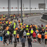 More than 1000 protesters march towards West Gate Bridge on Tuesday afternoon