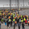 Protesters block West Gate Bridge after construction sector shuttered