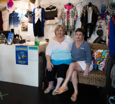 Beach De Mer owner Marion Richards and manager Georgie Ross. Since borders re-opened in July, the beachwear shop has done well, with locals supporting her Kirra store.