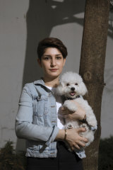 Mozhgan Moarefizadeh in Jakarta with her dog, Bella.