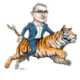 Paul Scurrah: riding a tiger but still upright. Illustration: Joe Benke