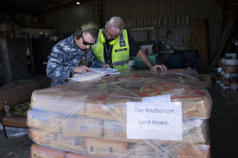 Supplies of flour and sugar destined for Lord Howe Island wait to be loaded at Port Macquarie Airport.