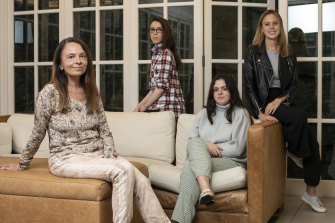 Elena Kirillova with her daughters, from left, Katerina, Mariika and Nina.