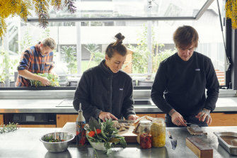 When not in lockdown, the trio hosts tour groups and, three times a week, feeds 14 people at a time for $400 multi-course meals cooked with food grown on site.