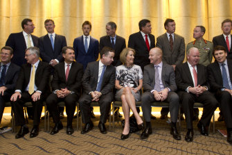 Elizabeth Broderick with some of Australia's top corporate leaders at a Male Champions of Change event in Sydney in 2013.