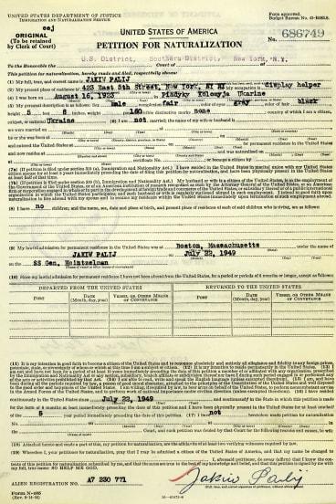 Jakiw Palij's petition for naturalisation.