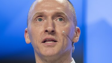 Carter Page, a former foreign policy adviser of US President-elect Donald Trump, speaks at a news conference at RIA Novosti news agency in Moscow in 2016.