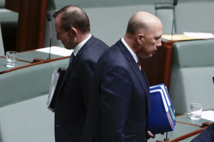 Got each other's back::  backbenchers Tony Abbott and Peter Dutton.