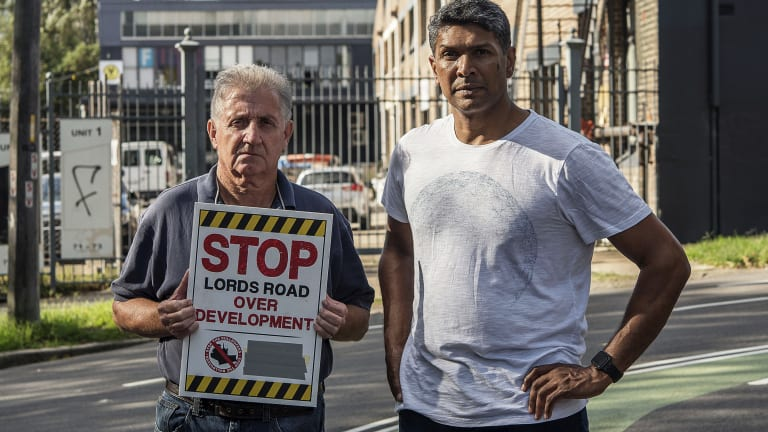 Colin Cranson and Rob Meyers outside their homes close to the controversial Lords Road industrial estate in Leichhardt.