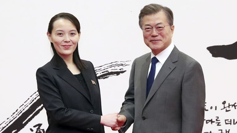 South Korean President Moon Jae-in, right, poses with Kim Yo-jong, North Korean leader Kim Jong-un's sister, after lunch at Seoul's presidential palace in February.