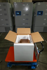 A thermal shipping box for a COVID-19 candidate vaccine developed by BioNTech and Pfizer.