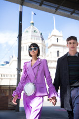 Models Cynthia Wu and Zane Doherty at the launch of the VAMFF Plaza precinct at Carlton Gardens on Monday.