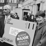 Jackson as an MP in a protest outside the Conservative Party central office in London in 1997.