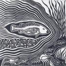 Badger Bates' Parntuu (codfish) 1993    linocut.