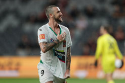 Roy O'Donovan celebrates the equaliser for the Jets on Friday night.