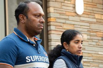 Aswath Chavittupara and Prasitha Sasidharan outside their Morley home earlier this month.