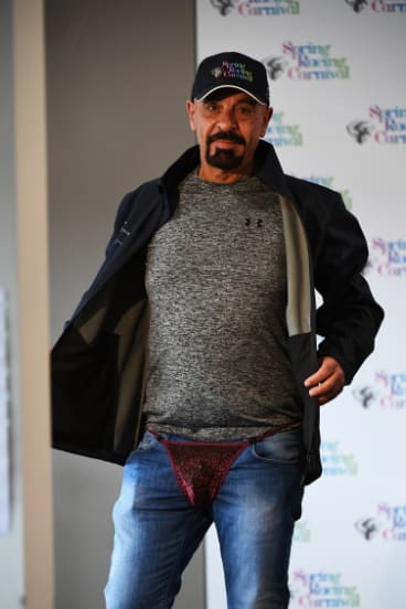 Koukash models his outfit, should his horse win the Cup.