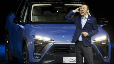 William Li, founder and chairman of Chinese automaker NIO launches the NIO ES8 electric SUV at an event in Beijing in December.