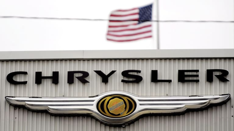 A Chrysler car dealership in New York, USA.