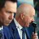 Tim Lane, pictured with Ricky Ponting, is the estimable host of Seven's cricket commentary.