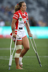 Isabelle Kelly on crutches at Bankwest Stadium.