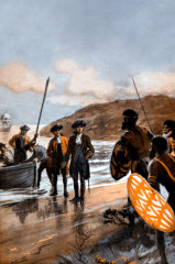 A detail from a painting depicting Cook's first landing at Botany Bay, by George Soper.