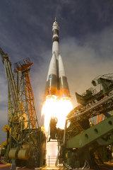 The Soyuz-FG blasts off to the International Space Station.