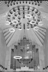 Concert Hall ceiling with acoustic rings in June 1973.