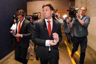 Toby Greene at the AFL tribunal in September.