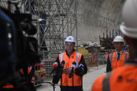 NSW Transport Minister Andrew Constance and Planning Minister Rob Stokes in the Victoria Cross Metro station site on Wednesday.