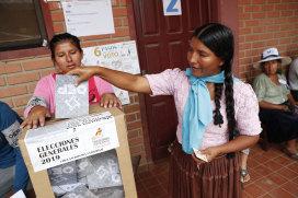 A woman casts her vote in Villa 14 de Septiembre, in the Chapare region of Bolivia on Sunday.