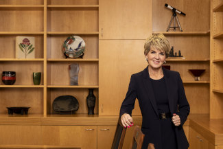 Former foreign affairs minister Julie Bishop in her new office at the Australian National University.