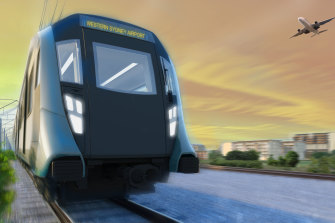An artist's impression of a train on the  new Sydney airport metro line.