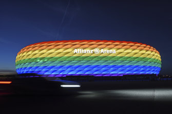 Munich's stadium was illuminated in rainbow colours in 2016, but won't be allowed to do the same during Wednesday's match.