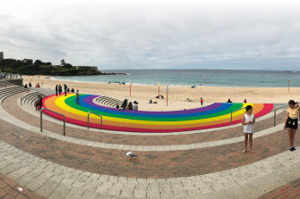 An artist's impression of the rainbow that will be painted at Coogee Beach to celebrate this year's Sydney Gay and Lesbian Mardi Gras.