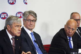 Kerry Stokes (left) and Rupert Murdoch at the AFL rights announcement in 2015