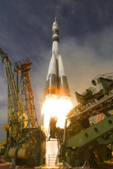 The Soyuz-FG blasts off to the International Space Station.