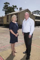 Deputy principal Kim Cootes and principal David Smith in the playground of Sydney's Fairfield Public School.
