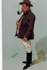A lithograph of A.G. Hales by 'Spy' in the <i>Vanity Fair</i> supplement, 1908.